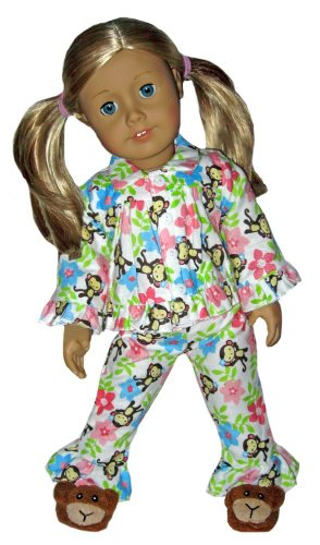 Monkey Slippers and White Tropical Monkey Pajamas. Doll Clothes Fit 18″ American Girl Doll., Baby & Kids Zone