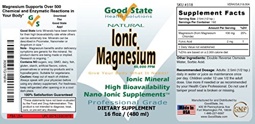 Good State   Ionic Magnesium  Natural   Nano Sized Mineral Technology   Professional Grade   Supports Healthy Chemical & Enzymes Reactions   192 Servings   16 Fl oz Bottle