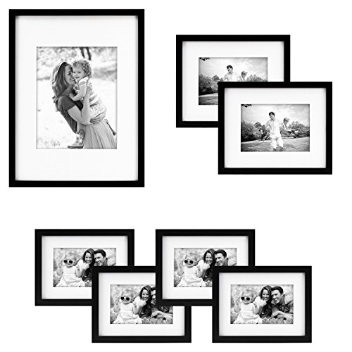 MCS Gallery Wood 7-Piece Frame Set, Black