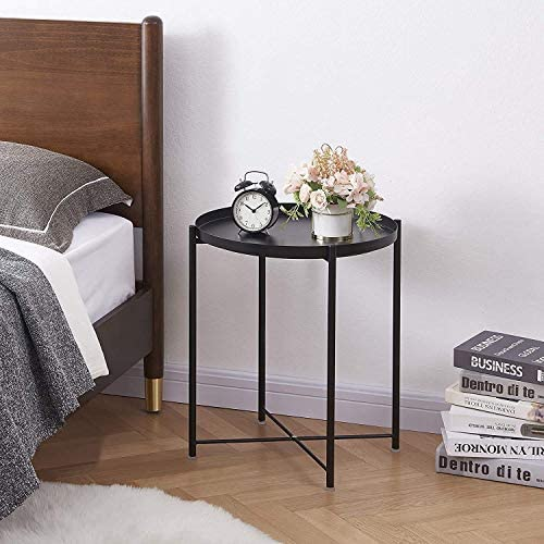 HOMRITAR NIGHTSTANDS TRAY METAL SIDE TABLE, SMALL ROUND COFFEE TABLE, ANTI-RUST AND WATERPROOF SNACK TABLE WITH REMOVABLE TRAY FOR LIVING ROOM, BEDROOM, OFFICE, EASY ASSEMBLY, BLACK(2021)