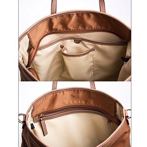 Bolsos Paracaídas Nylon De Tela Bolsos De Moda Paquete Diagonal De Hombro Mochila Portátil De Medio Estilo Brown