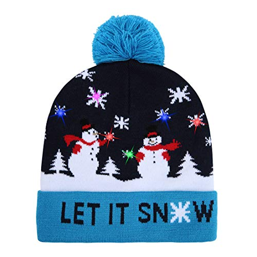 2d0623f4dcfaa0 W-plus Ugly LED Christmas Hat Novelty Colorful Light-up Stylish Knitted  Sweater Xmas