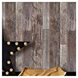 YT531 Wood Texture Wallpaper Rolls, Slategray/Brown Faux Wood Plank Wallpaper Murals Home Kitchen Bedroom Living Room Decoration 20.8'' x 31ft