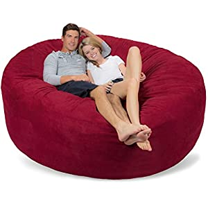 Comfy Sacks 7 ft Memory Foam Bean Bag Chair, Cinnabar Micro Suede