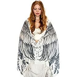 White Wings Bird Feather Pure Cotton Hand Painted Tribal Shawl Wings Scarf