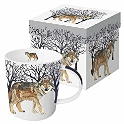 Paperproducts Design Gift Boxed Porcelain Mug, 13.5 oz, Winter Woods Wolf, Multicolor