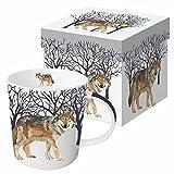 Paperproducts Design Gift Boxed Porcelain Mug, 13.5 oz, Winter Woods Wolf, Multicolor
