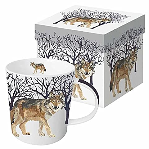 Paperproducts Design Gift Boxed Porcelain Mug, 13.5 oz, Winter Woods Wolf, Multicolor - Chocolate Chip Boxed