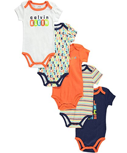 Calvin Klein Baby-Boys Newborn 5 Pack Creepers Navy and Orange Group