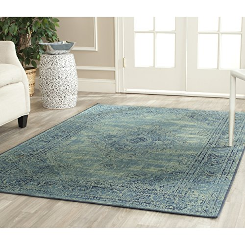 """Safavieh Vintage Collection VTG112-2220 Turquoise and Multicolored Viscose Area Rug, 5 feet 3 inches by 7 feet 6 inches (5'3"""" x 7'6"""")"""