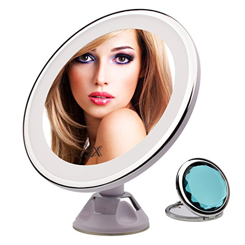 LED Makeup Mirror - 5x Magnifying Makeup Mirror with Lights, 360 Angle Rotating Lighted Vanity Mirror Wall Mounted, Locking Suction for Shaving Bathroom & Travel