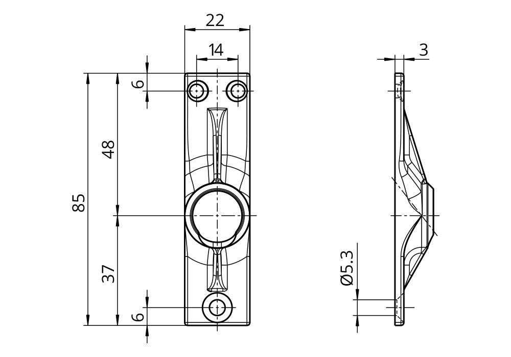 45 Grad Umlenkung Antrieb zum Rolladengetriebe 6 mm Sechskant Grundplatte 22 x 85 mm mit 3 Befestigungsl/öcher Rolladen Gelenklager G012 Kurbelzapfen Anschluss 9,9 mm DIWARO./®