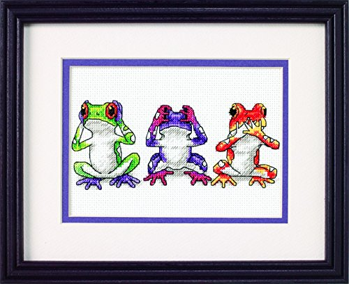 Jiffy Counted Cross Stitch Kit Tree frog Trio
