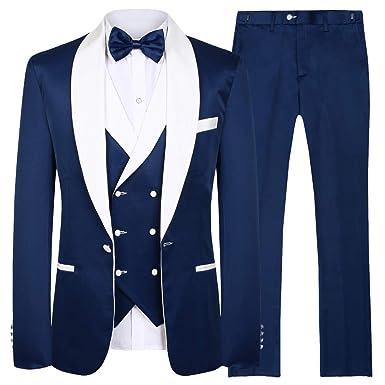 Hanayome - Traje de Esmoquin para Hombre (3 Piezas) Azul Blue ...