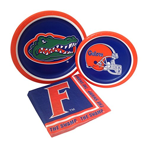 University of Florida Gators Party Supply Pack! Bundle Includes Paper Plates & Napkins for 8 Guests