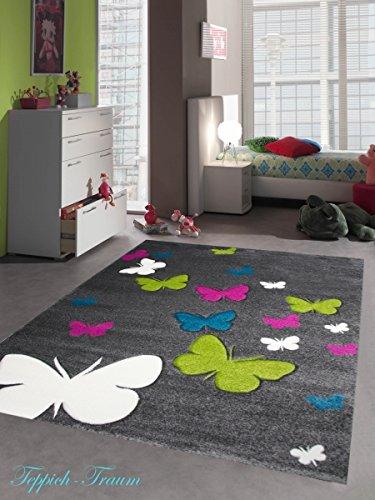 Kinderteppich Spielteppich Kinderzimmer Teppich Schmetterling Design mit Konturenschnitt Grau Pink Türkis Grün Creme Größe 140x200 cm
