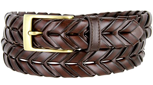 (Genuine Leather Arrow Braided Hand Woven Dress Belt 1-1/8