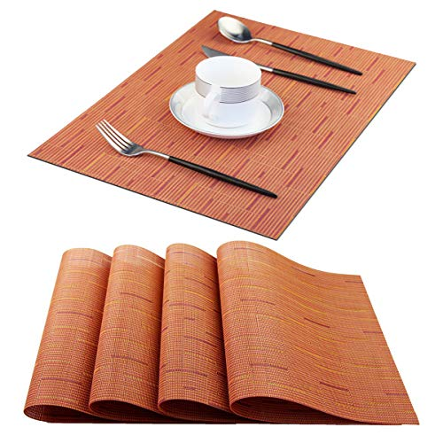 Pigchcy Plastic Placemats,Durable Placemats for Dining Table,Washable Woven Vinyl Kitchen Placemats Set of 4(18