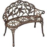 Outdoor Patio Garden Bench Park Yard Furniture Cast Iron Antique Rose Bronze