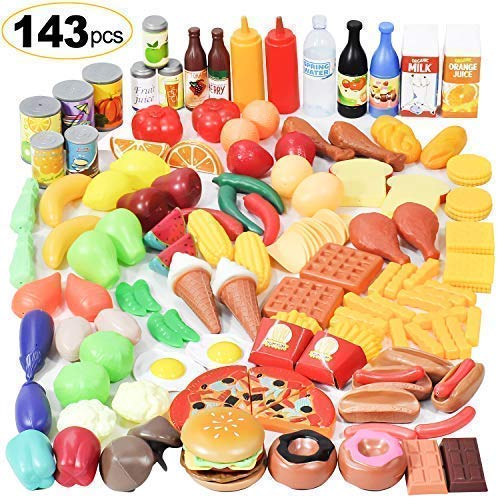 (Shimfun Play Food Set, 143 Piece Play Food for Kids Kitchen - Toy Food Assortment - Pretend Food for Toddler - Food Toys - Bonus Water Bottle + Deluxe Color Box Packaging + Storage Bag)