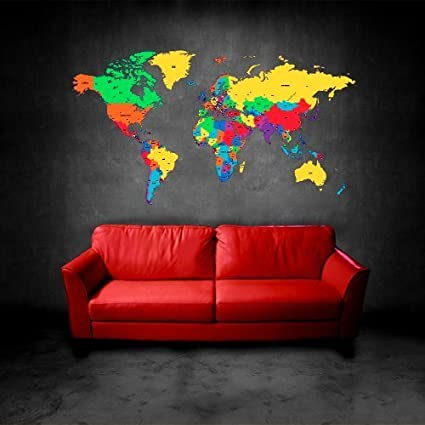 Amazon full color wall decal mural sticker decor art world map full color wall decal mural sticker decor art world map watercolor water paintings col480 gumiabroncs Image collections