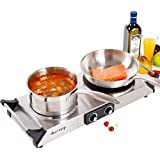 DUXTOP 1800W Portable Electric Cast Iron Cooktop Countertop Burner (Double)