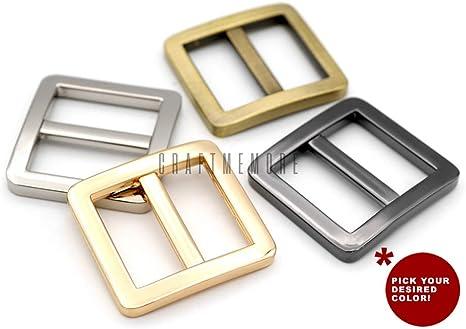 Bobeey 5pcs 1 Silver Flat Metal Adjuster Sliders,Belt Sliders,Buckle Triglide for Strap Keeper Leathercraft Bag Belt Adjuster Sliders BBC9 1 Inch, Silver