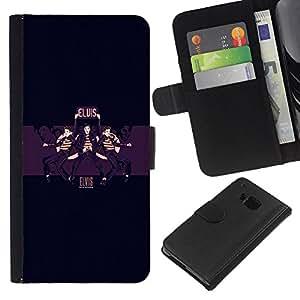 HTC One M9 - Dibujo PU billetera de cuero Funda Case Caso de la piel de la bolsa protectora Para (Elvis)