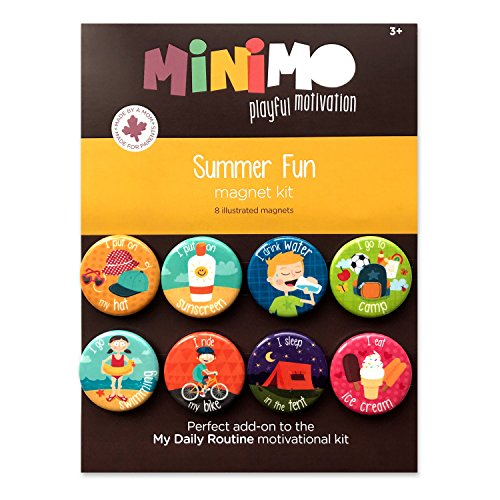 Summer Fun Magnet Kit - 8 Illustrated Magnets with Steps for Daily Summer Activities - Routine (Motivation Charts Kids)