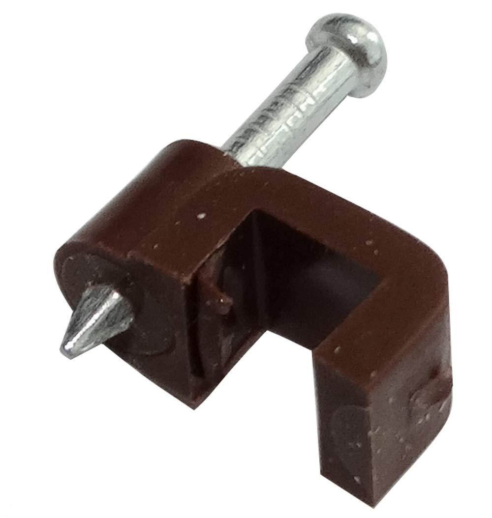 AERZETIX 100 Attache-c/âble accroche Plat Marron Fils pontets L5mm H4mm Fixation avec Clou C41804
