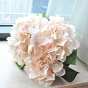 Jasion Artificial Flowers Hydrangeas Flowers 5 Big Heads Silk Bouquet for Office Home Party Decoration (Champagne) 3