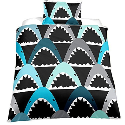 Cheap KTLRR Children's Duvet Cover Set,Cartoon Watercolor Printed Shark Bedding Set with Pillowcases Twin Size for Kids Boys Bedroom Decoration,100% Microfiber Fabric (Shark, Full 3pcs)