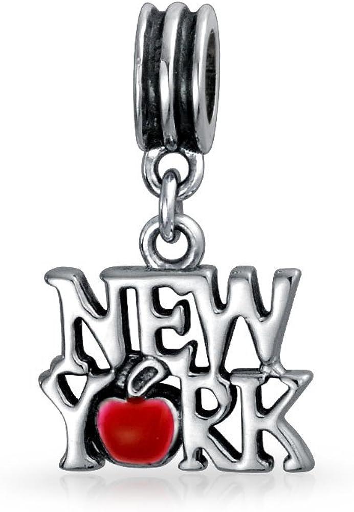 I Love New York Red Heart Travel Dangle Charm Bead For Women For Teen Sterling Silver Fits European Bracelet