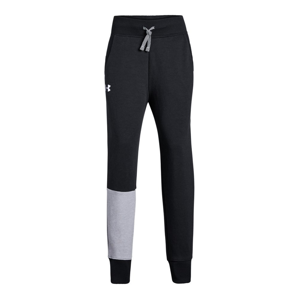 Under Armour Girls Double Knit Jogger, Black (001)/White, Youth Large by Under Armour