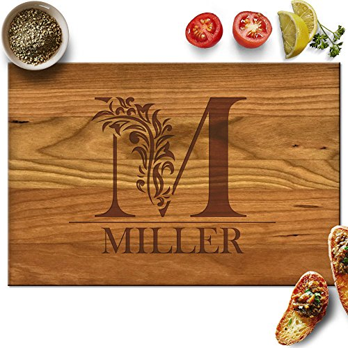 - Froolu Cute Monogram custom cheese board for Initial Engraved Birthday Gifts