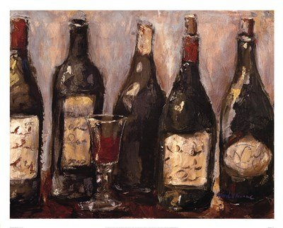 Wine Bar with French Glass by Nicole Etienne - 30x24 Inches - Art Print Poster