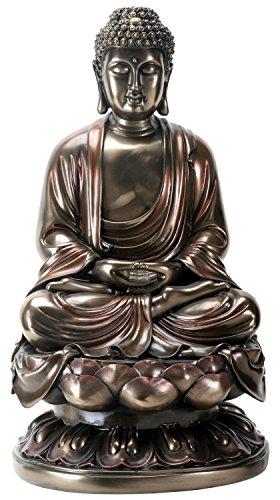 YTC 15 Inch Cold Cast Bronze Colored Resin Meditation Buddha Statue