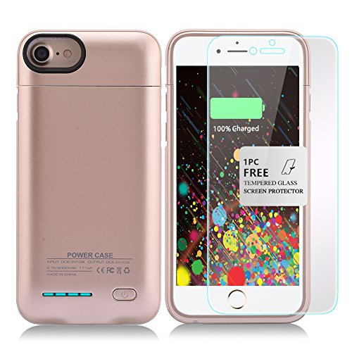 Kujian iPhone 7 Plus Battery Case,4200mAh Slim Charging Case with Free Screen Protector for Mag Mount External Charger Case 5.5inch for iPhone 7 Plus/ 6 plus/6S Plus (Gold)
