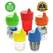 Healthy Sprouts Silicone Sippy Lids (5 Pack) - Lab Tested, Spill Proof, BPA Free, Universal Soft Spout Stretch Tops   Make Any Cup a Sippy Cup for Toddler, Baby, Infant (Red Yellow Blue)