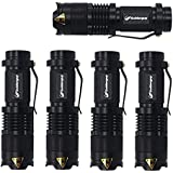 Goldenguy 5 Pack Mini Cree Q5 Tactical LED Flashlight Torch 7w 300lm Adjustable Focus Zoomable Tac Light (Black)