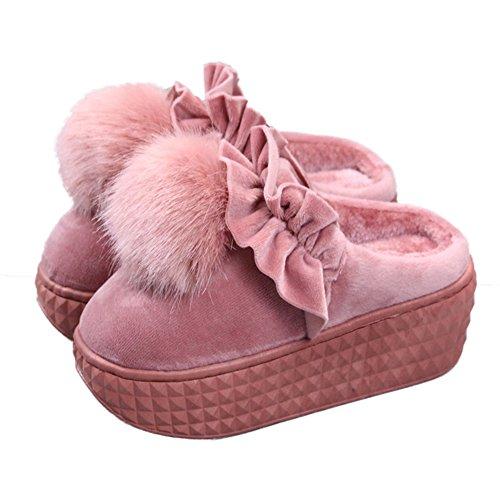 Cybling Vrouwen Warme Indoor Schoenen Schattige Pluche Huis Slipper Dikke Zool Waterdicht Roze