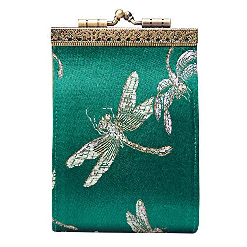 Cathayana Inc Women's French Ten Slot Accordion Style Credit Card Wallet - Green Dragonfly