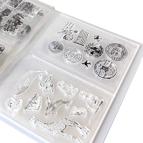 "Clear Stamps Storage Folder Paper Craft Keeper Cards Storage Album can Hold 40pcs Clear Stamps 3.8""x5"" 2 per Page Clear Stamps Dies Organizer"