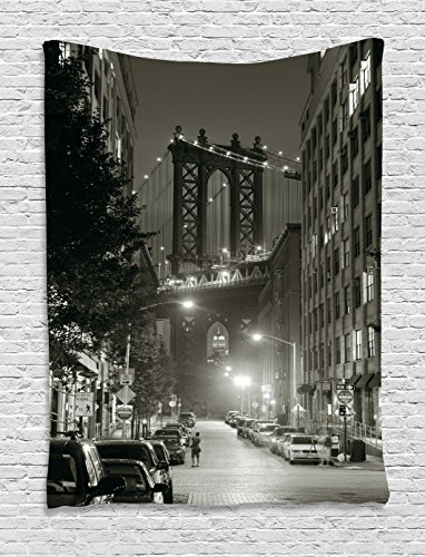 Ambesonne Urban Tapestry by, Manhattan Bridge from Street at Night Downtown New York States United States Photo, Wall Hanging for Bedroom Living Room Dorm, 60 W X 80 L Inches, Army Green