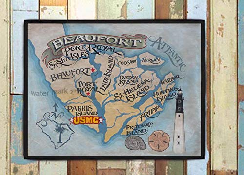 Beaufort SC map islands Print from an original hand painted and lettered sign. Beach House Decor, Travel and vacation Map Decor USMC