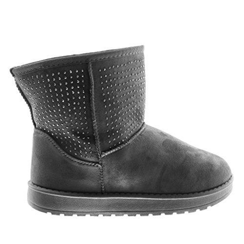 Angkorly Women's Boots 2 5 Flat Fashion Rhinestone Ankle Heel Grey Boots cm Shoes Snow Booty 4IIwq