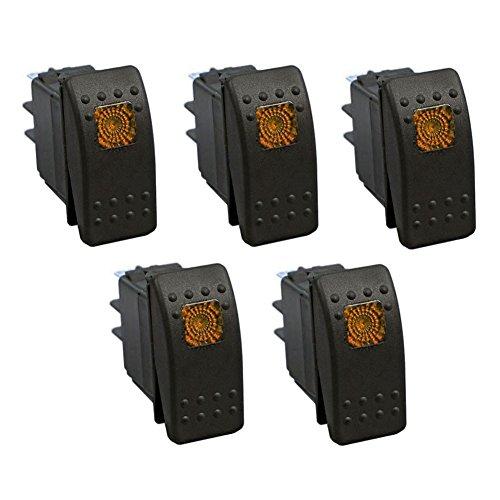 XT AUTO 12V 20 Amp 3pins Orange Light Rocker Switch Kit 5-pack