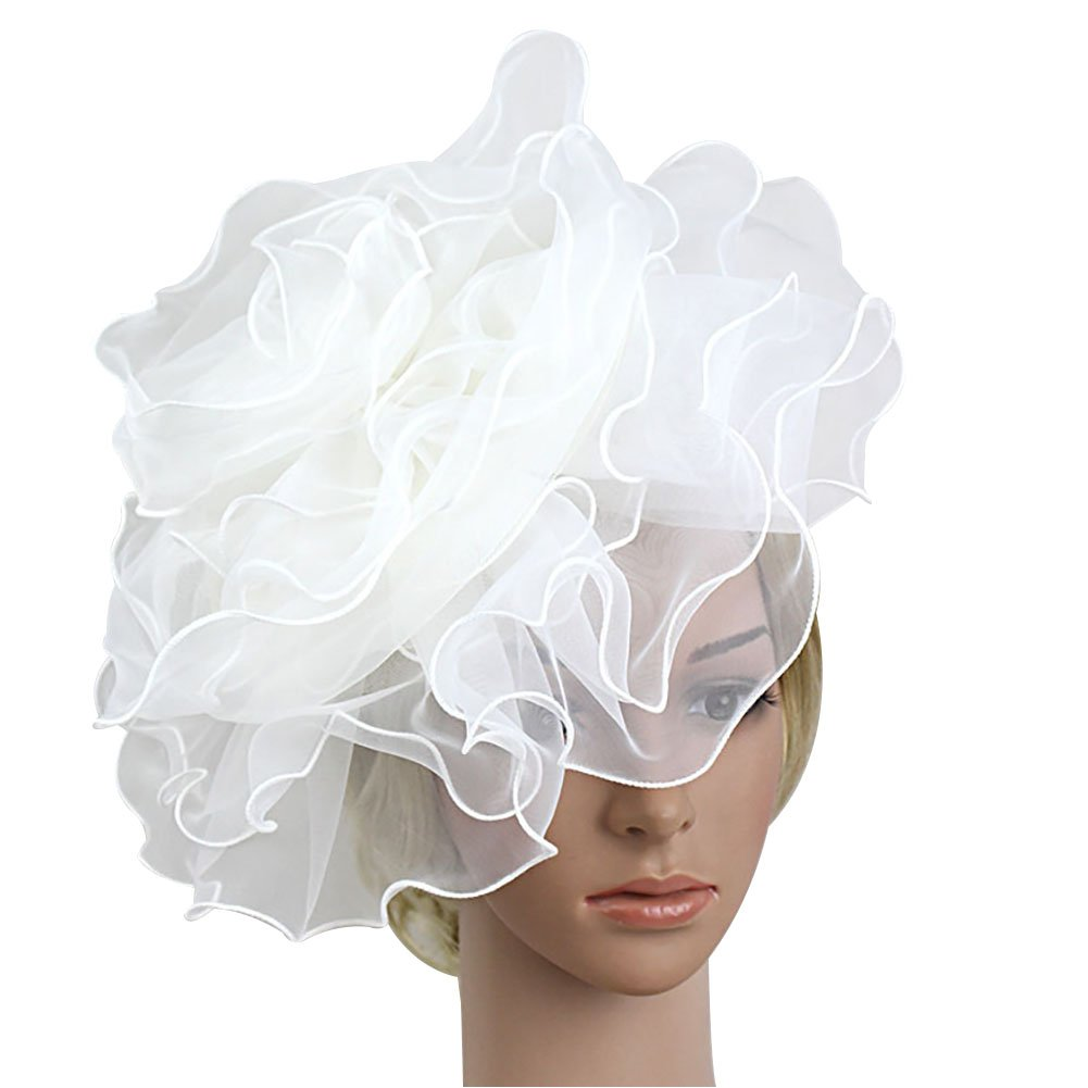 BAOBAO Girl Fascinator Hair Clip Headwear Big Flower Hat Cocktail Wedding Party Headpiece
