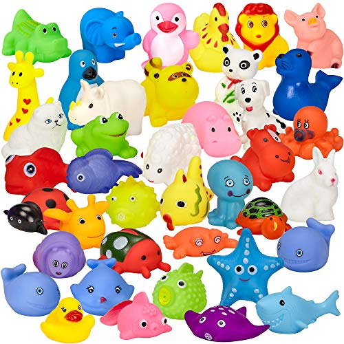 Assorted Rubber Duck Animals, 40 Pack Mini Bath Toys - for Girls and Boys, Babies, Toddlers and Children - Perfect for Gift Grab Bags and Party Favors