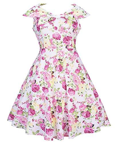 Helan Women's Vintage Sleeveless Sailor Collar Floral Dresses US 6 Peony (Sailor Customes)